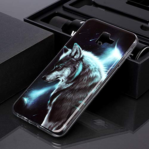 QC-EMART 3PCS Cases for Samsung Galaxy J6 2018 Soft Silicone TPU Gel Back Case Protective Cover 3D Cool Cute Animal Pattern Shockproof Protection Bumper Covers Blue Wolf Cat Tiger Smile Face