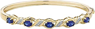Created Blue Sapphire Bangle with Diamonds in Sterling Silver with 14K Yellow Gold Pating