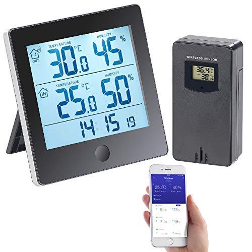 infactory Temperatur Datenlogger: Thermo-/Hygrometer-Datenlogger mit Außensensor, Bluetooth & App (Funk Außensensor)