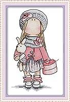 LovetheFamily ウサギを抱いた少女 22 x 35cm DIY十字刺繍 手作り刺繍キット 正確な図柄印刷クロスステッチ 家庭刺繍装飾品 11CT 3ストランド(インチ当たり11個の小さな格子 3株ライン) 刺しゅうキット ホーム オフィス装飾 手芸 手工芸 キット 芸術 工芸 DIY 手作り 装飾品(フレームレス)