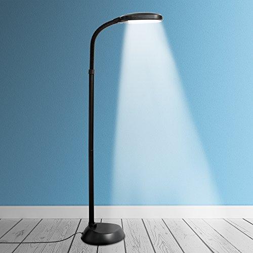 Kenley - Lampada da terra naturale a luce diurna a LED, dimmerabile, standard per soggiorno, camera da letto o studio, regolabile con lampadina a risparmio energetico da 12 W
