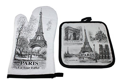 Guanto e guanto da cucina monumenti di Parigi, nero e bianco, 100% cotone, divano di Parigi.