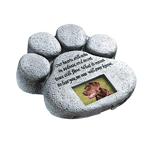 ETC Paw Print Pet Outdoor Memorial Stone, with...