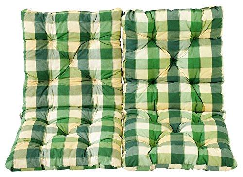 Ambientehome Lot de 2 Coussins a carreux Haut Dossier HANKO pour Fauteuil de Jardin, Coton, ca. 98 x 50 x 8 cm, Ton Vert, 98x50x8 cm