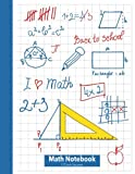 Math Notebook 1/2 Inch Squares: Lined Graph...