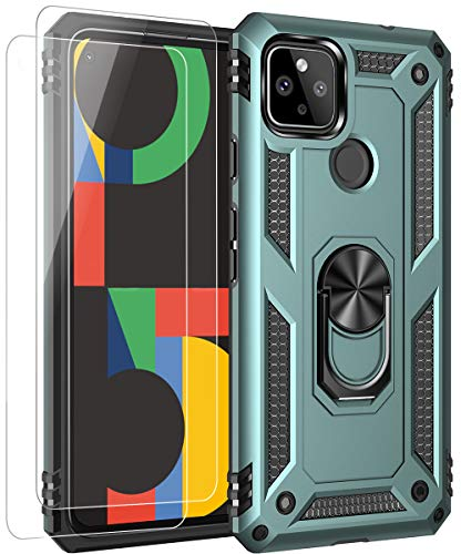 ComoUSA Google Pixel 4a 5G(2020)Case with 2 Packs HD Screen Protector. Google Pixel 4a 5G Case Kickstand [ Military Grade ] 15ft. Drop Tested Protective Cover for Google Pixel 4a 5G Phone(Dark green)