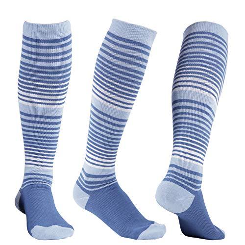 +MD 3 pares de calcetines de compresión de viscosa para mujeres y hombres, calcetines hasta la rodilla de 8-15 mmHg para correr, atléticos, enfermeras