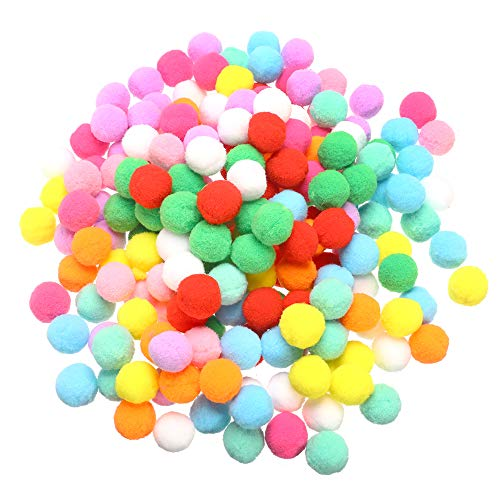 HEKOY 200 Piece 0.98 Inch Pom Poms Balls Craft Pompoms Multicolor Elastic Puff Balls for Hobby Supplies DIY Creative Crafts Decorations