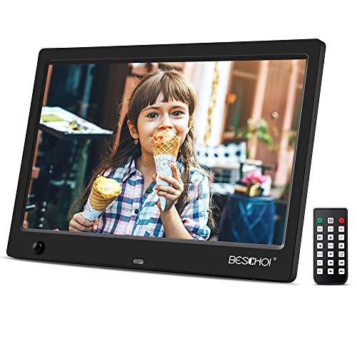 Beschoi Marco Fotos Digital HD 10 Pulgadas Pantalla LCD con Sensor Movimiento y Control Remoto Soporte Reproductor Vídeo MP3 MP4 Reloj Electrónico Calendario Regalo para Padres