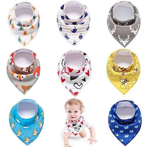 Pachock Baviors Bandana Bébé Unisexe Bavettes pour Garçons Filles Teething, Nourrir, Absorbant 100% coton, Convient Newborn Infant Toddler (Pack de 8)