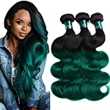 SEXAY Hair 10A Grade Brazilian Ombre Bundles Body Wave Weave 1b Green...