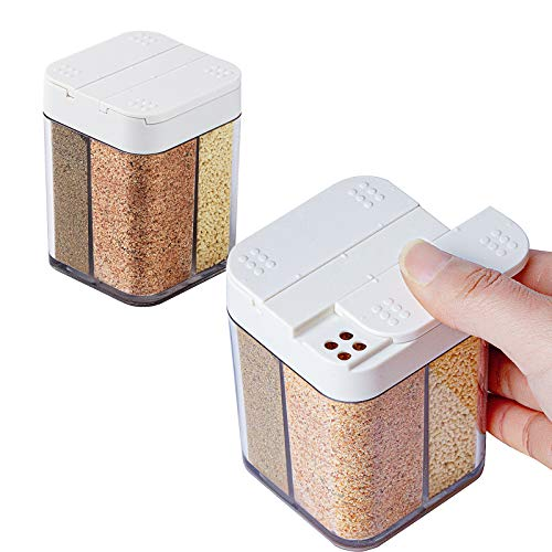 2 Pack 4 in 1 Plastic Salt and Pepper Shaker- 8 Grids Empty Spice Dispenser with Adjustable Holes Transparent Travel Seasoning Cans Condiment Jars for Home Restaurant Kitchen Cooking Steak BBQ