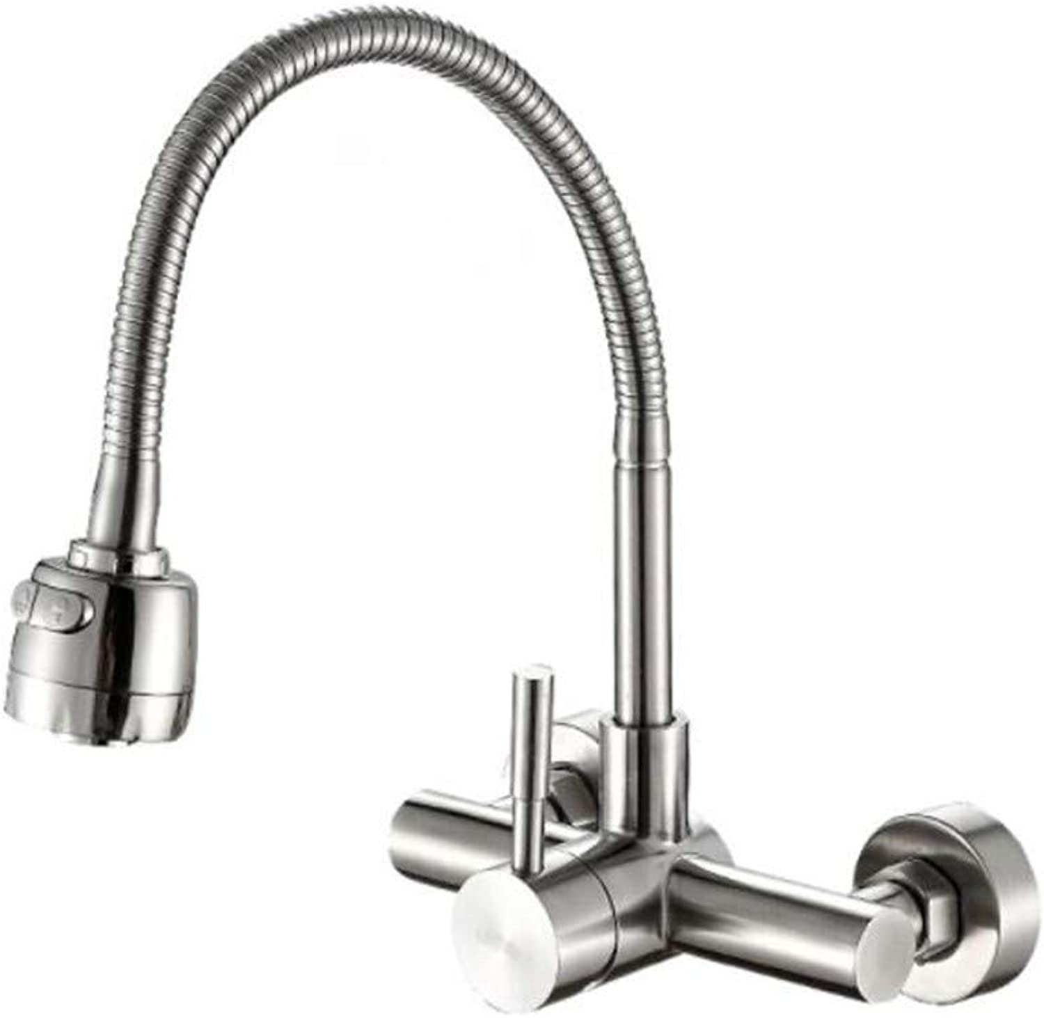 Taps Mixer?Swivel?Faucet Sink Stainless Steel Faucet Cold and Hot Kitchen Basin Wall Mop Pool Faucet