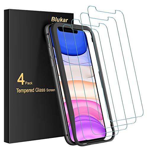 Blukar [4 Stück] Panzerglas für iPhone 11/iPhone XR Schutzfolie, Panzerglasfolie Mit Installationshilfe, 9H Super-Härte, Blasenfrei und Kratzfest für iPhone 11/ iPhone XR