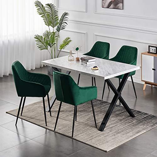 6er Set Wohnzimmerstuhl Esszimmerstuhl aus Stoff (Samt) Farbauswahl Retro Design Armlehnstuhl Stuhl mit Rückenlehne Sessel Metallbeine Schwarz (Green, 6)