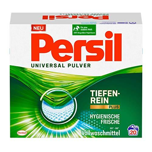 Persil Universal Pulver Waschmittel (20 Waschladungen), Vollwaschmittel mit Tiefenrein-Plus Technologie bekämpft hartnäckigste Flecken für strahlende Reinheit