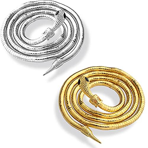Flexible Bendable Snake Necklace, Creative Freedom Snake Necklace, Wrap Bangle Twistable Snake Jewelry, Bendable Snake Bracelet, Bendable Snake Necklace Flexible Multi-Purpose Necklace (Gold+silver)
