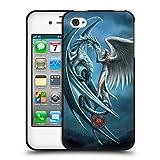 Head Case Designs Licenciado Oficialmente Anne Stokes Tapa Plateada Amistad de Dragón Funda de Gel Negro Compatible con Apple iPhone 4 / iPhone 4S