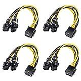 XTVTX 4PCS 8 pines PCI-E a 2 PCI-E 8 pines (6 pines + 2 pines) Cable de alimentación, divisor Conector de tarjeta gráfica PCI Express Cable de alimentación de PC Cable de tarjeta gráfica de video GPU