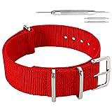 14 mm de una Sola Pieza Correas de Reloj de Estilo de la perlón de Nylon de Las Mujeres delicadas de Color Rojo pasión Correas Textiles