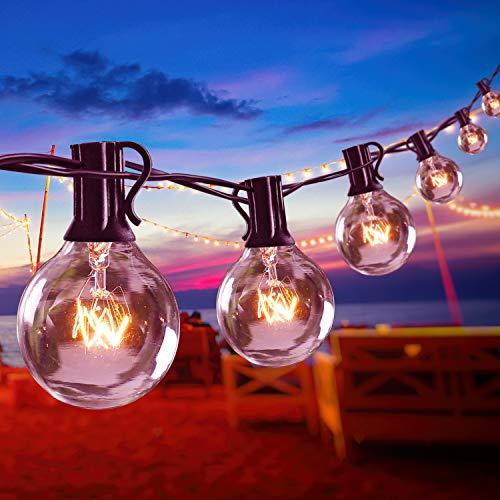 Lichterkette Glühbirnen Außen, 11M G40 Birnen 25+5 Ersatzbirnen Hängelicht Aussen, 2200K Warmweiß Deko Licht Beleuchtung für Garten Terrasse Party Balkon Bäume, E12 Sockel IP44 Wasserdicht
