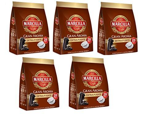 Marcilla Café Extra Fuerte para máquina Senseo - 5 paquetes de 28 monodosis (Total 140 monodosis)