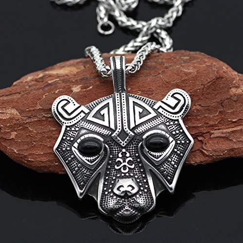 Xpccj Collar con colgante para hombre, diseño de cabeza de oso nórdico vikingo, amuleto para hombre, estilo vintage, joyería de regalo (color de metal: negro).