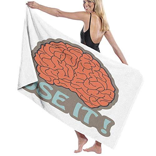 Grande Suave Toalla de Baño Manta,Tiene Cerebro Utilízalo Resumen Inteligencia Humana Anatomía Cerebro Corteza Gráfico,Hoja de Baño Toalla de Playa por la Familia Viaje Nadando Deportes,52' x 32'