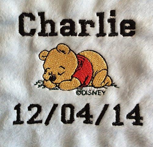 Doudou Taggie personnalisé pour bébé avec couverture Winnie l'ourson (couverture blanche)