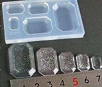 〈UVクラフトレジン〉 (S113)シリコンモールド ビジュー エメラルドカット 長方形 5サイズ ピアス イヤリング キーホルダー アクセサリー作りに ミニチュア UV LED レジン 樹脂粘土に