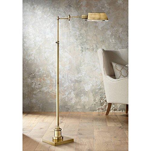 Jenson Modern Traditional Metal Adjustable Pharmacy Floor Lamp Swing Arm Aged Brass Metal Shade Standing Pole Light for Living Room Reading House Bedroom Home Office Decor - Regency Hill