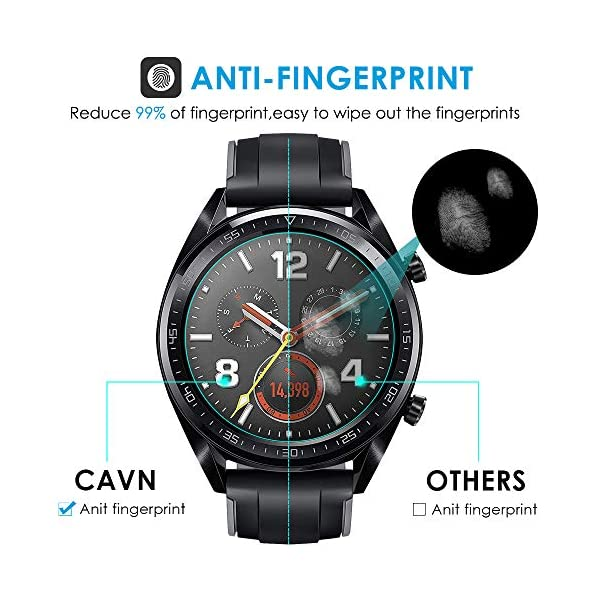 CAVN Compatible con Huawei Watch GT Protector de Pantalla, [4 Packs] Impermeable Vidrio Templado Protector de Pantalla… 3