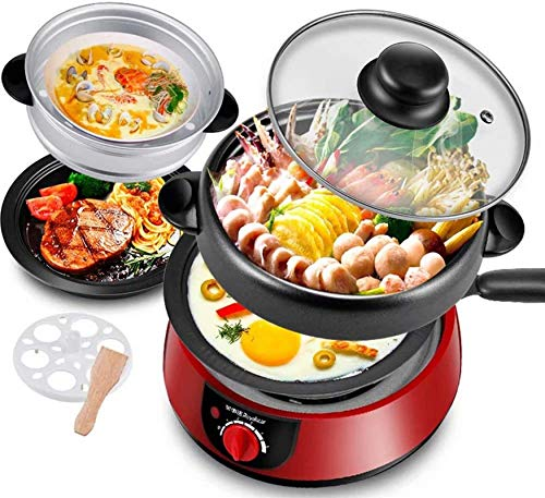 Parrilla eléctrica portátil, BBQ Hot Boot Hot Pot/Pan Pan Barbacoa eléctrica/Retro Mini...