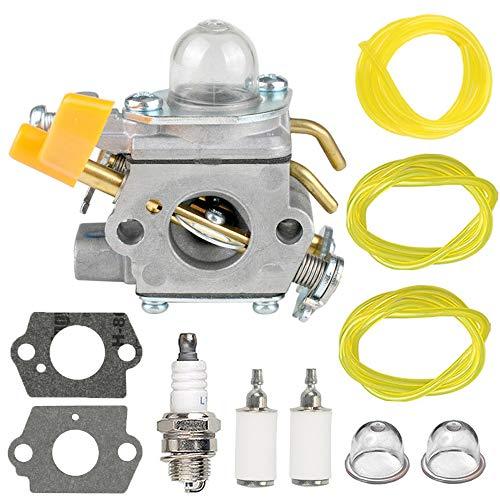 308054043 Carburetor with spark plug Fuel Line Kit for Homelite Ryobi CS26 RY09800 RY28021 RY28041 RY28065 UT32601 UT32601A UT32605 UT32651 UT32651A UT32655 26cc 308054028 Strting Trimmer Brushcutter