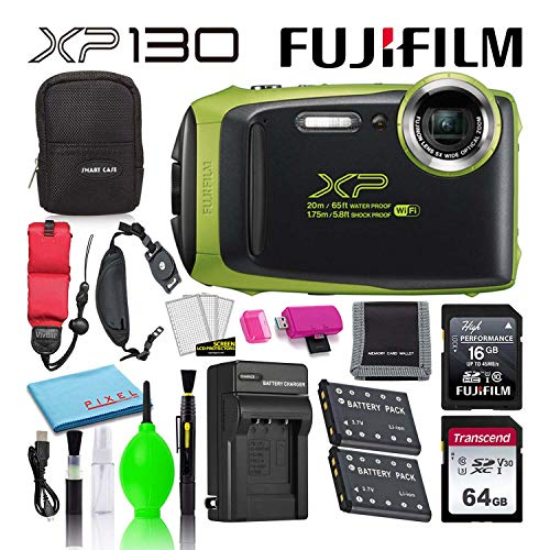 Fujifilm FinePix XP130 Waterproof Digital Camera (Lime) Advanced Accessory Bundle -Includes- 64GB SD Card + 16GB SD Card + Camera Case + Extra Battery + Battery Charger + Floating Strap + More