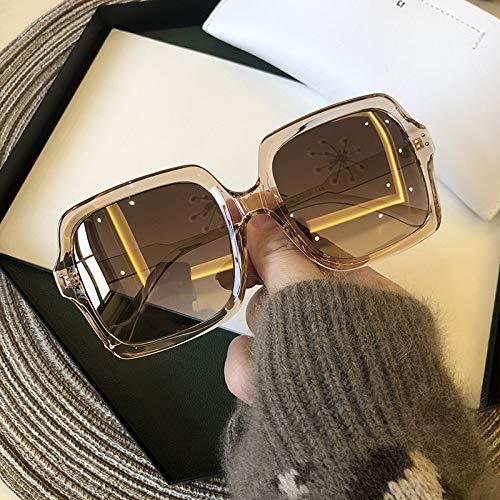 Gafas De Sol Para Mujer Grandes Cuadrado,Bastidor De Remache Retro Anti-Luz Azul Uv Anti-Caída Oro Rosa Gafas De Sol Gradiente Street Beat ,Para La Conducción Al Aire Libre Ciclismo Esquí Ejecutan