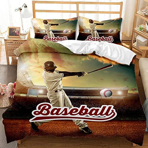 QXbecky Juego de Cama Funda de edredón de bateo de béisbol Funda de Almohada 2, Juego de 3 Piezas, Lijado de Microfibra Suave, Transpirable y cómodo para Dormir 175 cm