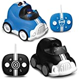 FAO Schwarz Lights and Sounds RC Police Chase 2-Pack, Remote Control Cars with Removable Cops and Robbers Action Figures, Flashing Lights and Siren Sounds (Color May Vary)