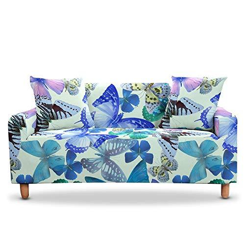 Vlejoy Antirutsch Stretchhusse 3D Blue Butterfly Corner Schonbezüge Schnittsofa Aus Elastischem Stretch Für Wohnzimmer 3-Sitzer (190-230cm) _Color-W