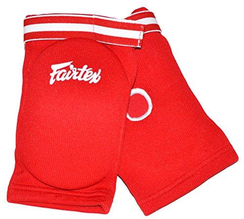 Fairtex Ellenbogenschoner mod.EBE Pads, Schutzausrüstung für MuayThai, Kickboxen, MMA Thai-Boxen, Kampfsport, Einheitsgröße, rot, One Size For All