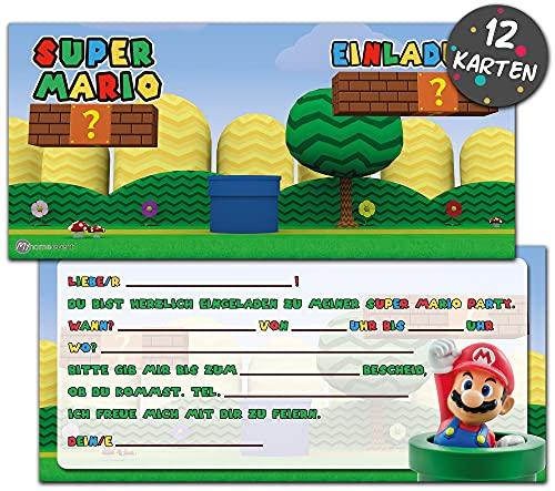 Super Mario Einladungskarten Kindergeburtstag   12 Geburtstagseinladungen   Kindergeburtstag Einladungskarten für Jungen & Mädchen  Mottoparty