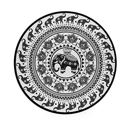 Mr.Lucien Alfombra redonda con diseño de mandala, estilo indio, suave, redonda, en la parte delantera de la ducha, bañera, lavabo, inodoro, 91,9 cm 2020003