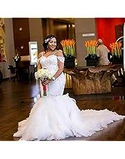 Vestido de Novia Vestido de Novia Vestido de Dama de Honor un Hombro Hasta el Suelo Cola de Pez Vestido de Novia con Cola de Pez Blanco Puro/Ee.Uu .: 6 (L), LIFU