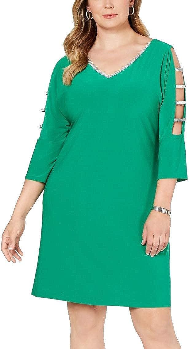MSK Women Womens Plus Embellished Split Sleevesd Cocktail Dress