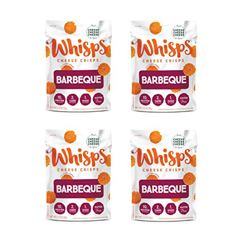 Whisps Barbeque Cheddar Cheese Crisps   Back to School Snack, Keto Snack, Gluten Free, Low Carb, Low Sugar, High Protein   2.12oz (4 pack)