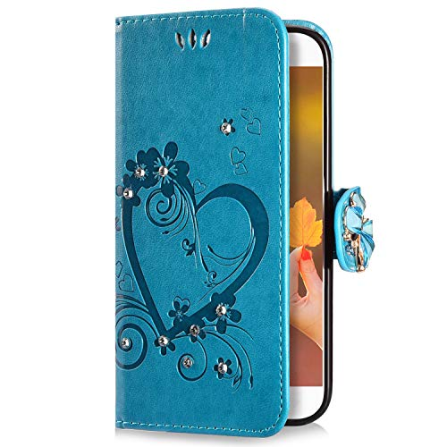 Uposao Compatible con Huawei P8 Lite 2016 Funda Piel PU con Tapa Relieve Dibujo Corazon Mariposa,Glitter Brillantes Diamante Purpurina Carcasa Libro Flip Soporte Plegable Cubierta Protectora,Azul