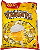 Vero Mexican Candy Tarrito Fruit Flavored Lollipops, 40 Count Bag with FREE Cachepigui Lollipop Candy (1BAG)+ FREE Pulparin Dots (4 Flavors) + 5 pieces of Tama Roca