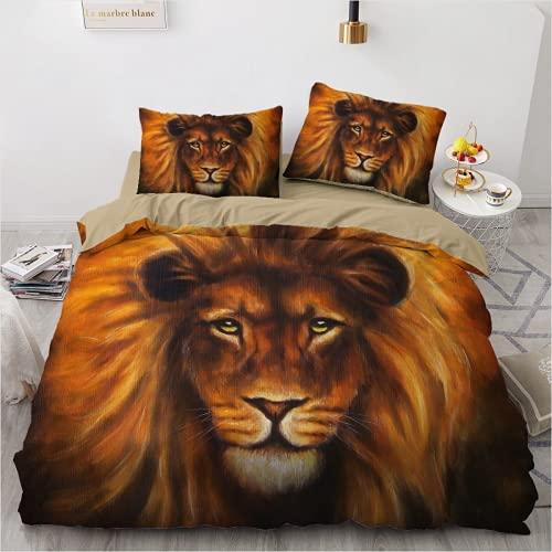 QWAS Lion Funda nórdica Beast Ropa de cama, funda de edredón, juego de 3 piezas (L6,220 x 240 cm + 80 x 80 cm x 2)
