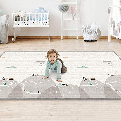 "uyoyous Double-Sided Baby Crawling Mat 79x71"" Waterproof Portable Playmats Reversible Baby Play Mat Baby Mat Folding 1cm Thick Foam Crawling Playmats for Infant Baby Toddler"