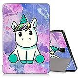 ZhuoFan Hülle für Samsung Galaxy Tab A 10.5, Schlanke Leicht Hülle Tasche Ständer Schutzhülle mit Muster Motive, Auto Schlaf/Wachen Cover für Samsung Tab A 10.5 T590/T595 Tablet, Einhorn